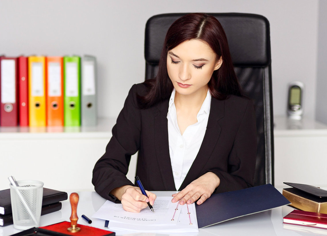 accounting staff checking her accounts