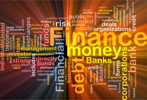 wordcloud illustration of finance money
